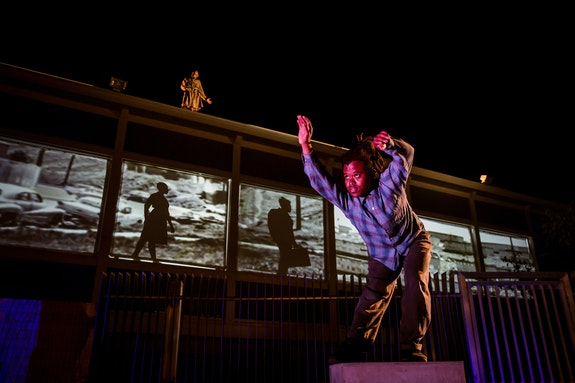 <em>Picture Bayview Hunters Point</em>, Zaccho Dance Theatre, 2018.  Pictured clockwise:  Azraa Muhammad, Delvis Friñon, José Abad, Lydia Clinton. Photo: Kegan Marling.