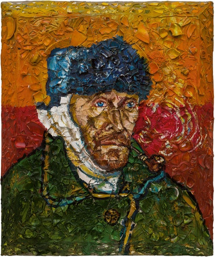 Julian Schnabel, <em>Number 1 (Van Gogh, Self-Portrait with Bandaged Ear, Willem)</em>, 2018. Oil, plates, and bondo on wood, 72 x 60 inches. © Julian Schnabel.