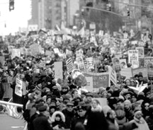 Protesters against Bush's war with Iraq, NYC, March 2003. Photo by Jan Chelminski.