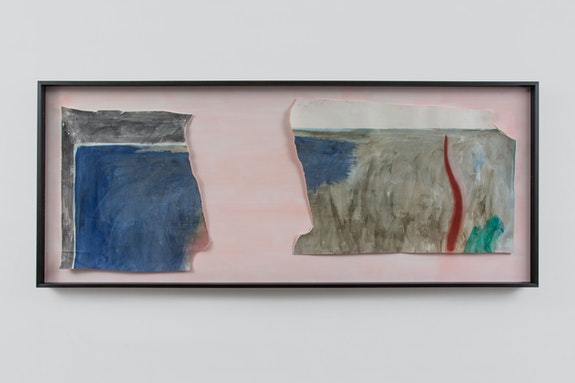 Monique Mouton, <em>Love Quotient</em>, n.d. Watercolor, oil, soft pastel, pencil on paper; silver gray and graphite on cherry frame 33 5/8 x 81 1/2 x 2 1/2 inches. Courtesy the artist and Bridget Donahue, NYC. Photo: Gregory Carideo.