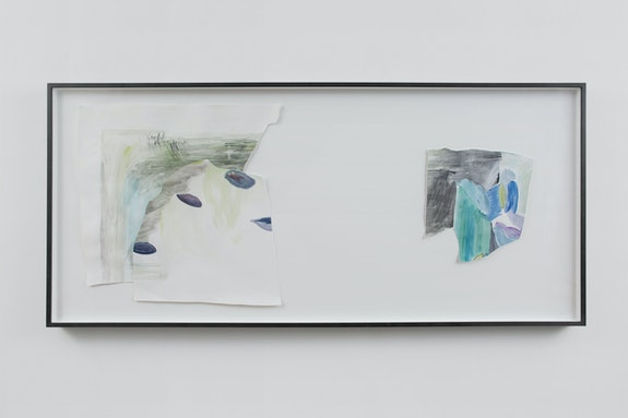Monique Mouton, <em>Inner Chapters</em>, n.d. Watercolor on paper; pearl gray, silver gray, rottenstone on maple frame 41 3/8 x 91 1/2 x 2 1/2 inches. Courtesy the artist and Bridget Donahue, NYC. Photo: Gregory Carideo.