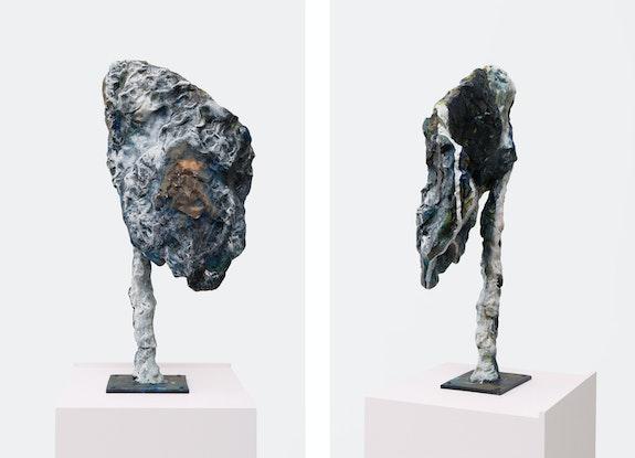 Rebecca Warren, <em>V.</em> (detail), 2020. Hand-painted bronze on painted MDF pedestal, 72 1/4 x 13 3/4 x 13 inches. © Rebecca Warren. Courtesy Matthew Marks Gallery.