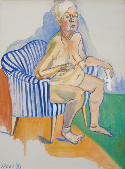 Alice Neel, <em>Self‐Portrait</em>, 1980. Oil on canvas, 53 1/4 x 39 3/4 inches. National Portrait Gallery, Smithsonian Institution, Washington, D.C. © The Estate of Alice Neel. Courtesy the Metropolitan Museum of Art.