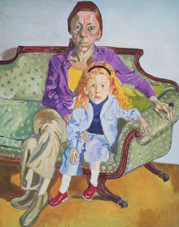 Alice Neel, <em>Linda Nochlin and Daisy</em>, 1973. Oil on canvas, 55 7/8 × 44 inches. Museum of Fine Arts, Boston. © The Estate of Alice Neel. Courtesy the Metropolitan Museum of Art.