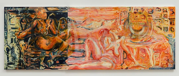 Jo Messer, <em>Once you have it, you'll never leave it</em>, 2021. Oil on canvas, 47 x 127 inches. Courtesy 56 Henry, New York.