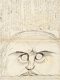 Théophile Bra, <em>L'artiste n'est rien</em> (The artist is nothing), c. 1830. Brown ink on paper, encre brune sur papier, 15 3/4 x 11 7/8 inches. Fonds Bra, Douai, bibliothèque Marceline-Desbordes-Valmore.