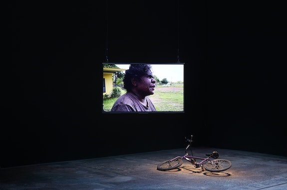 Karrabing Film Collective, <em>A Day in the Life</em>, 2020. Installation view, <em>The National 2021: New Australian Art</em>, Carriageworks, Sydney. Photo: Zan Wimberley.