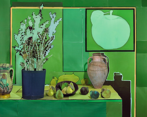 Daniel Gordon, <em>Jade Plant with Pears and Green Apples</em>, 2019. Pigment Print with UV Lamination, 55 x 68 3/4 inches. © Daniel Gordon. Courtesy Yossi Milo Gallery, New York / James Fuentes Gallery, New York.