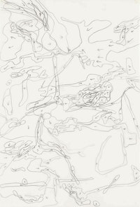 Julie Mehretu, <em>Migration Direction Map (large)</em>, 1996. Ink on mylar, 22 x 15 inches. Private collection. © Julie Mehretu.