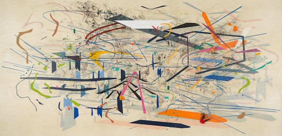 Julie Mehretu, <em>Retopistics: A Renegade Excavation</em>, 2001. Ink and acrylic on canvas, 101 1/2 x 208 1/2 inches. Crystal Bridges Museum of American Art, Bentonville, Arkansas.  © Julie Mehretu.