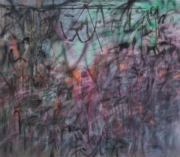 Julie Mehretu, <em>Conjured Parts (eye), Ferguson</em>, 2016. Ink and acrylic on canvas, 84 x 96 inches. The Broad Art Foundation, Los Angeles. © Julie Mehretu.