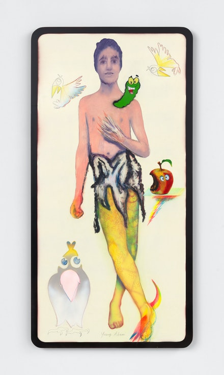 Alessandro Pessoli, <em>Jung Adam</em>, 2021. Oil, oil pastels, spray paint, colored pencils, and pencil on wood panel 60 x 30 inches. © Alessandro Pessoli. Courtesy the artist and Anton Kern Gallery, New York.