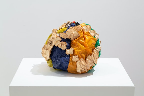 Nour Mobarak, <em>Sphere Study 3 (Failed Sphere)</em>, 2020. Vinyl, Trametes versicolor, wood, 11 1/4 x 13 x 14 inches. Courtesy the artist and Miguel Abreu Gallery, New York. Photo: Stephen Faught.