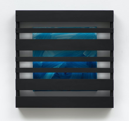 Tariku Shiferaw, <em>Waiting in Vain (Bob Marley)</em>, 2021. Lacquer paint, acrylic, canvas, and wood, 30 x 30 x 4.25 inches. © Tariku Shiferaw. Courtesy Galerie Lelong & Co., New York.