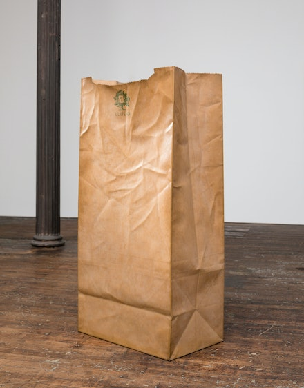 Alex Hay, <em>Paper Bag</em>, 1968. Fiberglass, epoxy, paint and paper, 59 1/4 × 29 1/4 × 17 3/4 in. (150.5 × 74.3 × 45.1 cm). Whitney Museum of American Art, New York; purchased with funds from the Friends of the Whitney Museum of American Art.