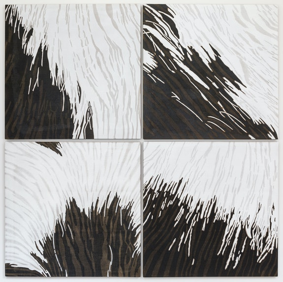 Alex Hay, <em>Lily</em>, 2019-2020. Spray acrylic and stencil on linen, in four parts, each: 40 x 40 inches (101.6 x 101.6 cm); 82 x 82 inches (208.3 x 208.3 cm) overall. Courtesy the artist and Peter Freeman, Inc., New York.