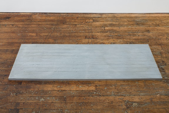 Alex Hay, <em>Untitled (Plank-Gray)</em>, 1966. Pigmented resin with aluminum armature, 1 3/8 x 74 7/8 x 27 inches; (3.5 x 190.2 x 68.6 cm). Courtesy the artist and Peter Freeman, Inc., New York.