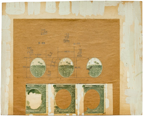 Alex Hay, <em>Study for Cuban Cigar Seal</em>, 1968. Ink, graphite, paint, and cigar seals collaged on brown paper mounted on board with paint, 8 7/8 x 11 inches. Courtesy the artist and Peter Freeman, Inc., New York.