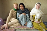Afghanistan June 2002: Kristina, Arifa and Myrna. Arifa's husband and children were killed when a U.S. bomb landed on their home in Kabul. She is one of the people being helped by donations to the Afghan victims fund. Photos courtesy Peaceful Tomorrows.