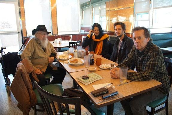 Peter Lamborn Wilson, Diego Gerard, Anne Waldman. NY. Photo by Lucía Hinojosa. January 2020.