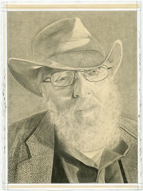 Portrait of Peter Lamborn Wilson, pencil on paper by Phong H. Bui.