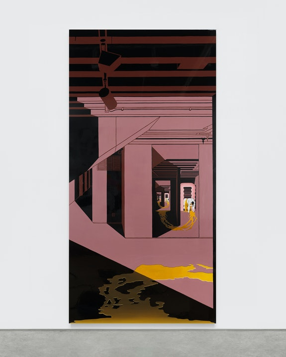 Ebecho Muslimova, <em>Fatebe Ultrafragola</em>, 2020. Enamel and oil paint on Dibond aluminum 96 x 48 in. Photo by Matt Grubb//Object Studies. Courtesy of the artist, Galerie Maria Berheim, Zürich and Magenta Plains, NY.