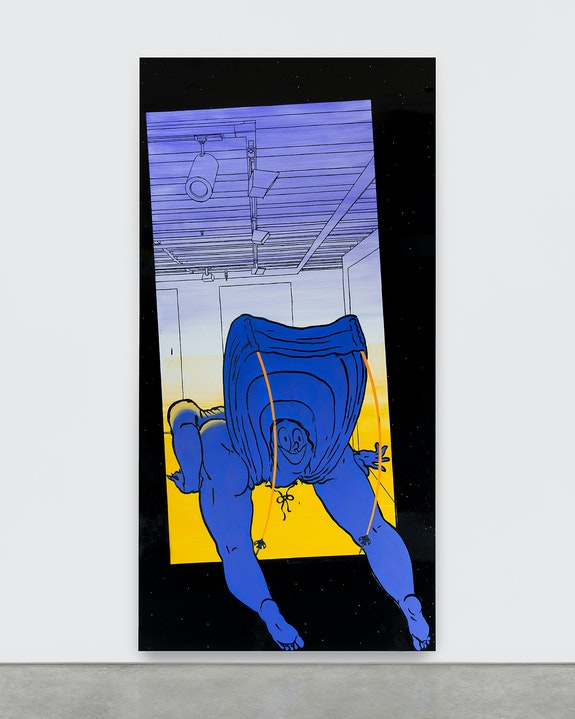 Ebecho Muslimova, <em>Fatebe Out of Space</em>, 2020 Enamel and oil paint on Dibond aluminum 96 x 48 in. Photo by Daniel Terna. Courtesy of the artist, Galerie Maria Berheim, Zürich and Magenta Plains, NY.