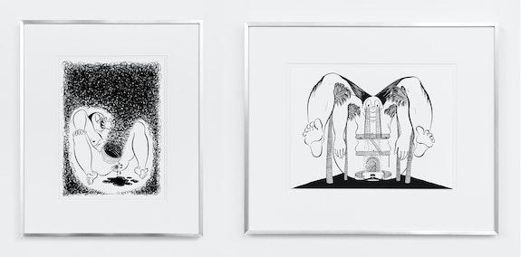 Left: Ebecho Muslimova, <em>Fatebe Exhaust</em>, 2016. Ink on paper. 12 x 9 in. Right: Ebecho Muslimova, <em>Fatebe Sad Hilltop Hotel</em>, 2018. Ink on paper. 12 × 9 in.