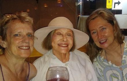 Eleanor Heartney, Barbara Rose, Heather Hutchison, August 18, 2019, Saugerties, NY. Photo: Larry Litt.