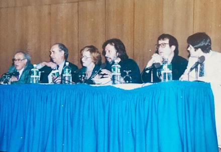 Left to right: Louis Finkelstein, Irving Sandler, Barbara Rose, Don Kimes, Mark Stevens, Andrea Packard panel at American University