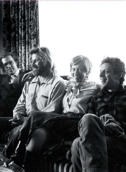 The Di Suvero film team: (Left to Right) Francois deMenil, Mark Di Suvero, Barbara Rose, Philip Glass, NYC, 1976.  Photographer: unknown.