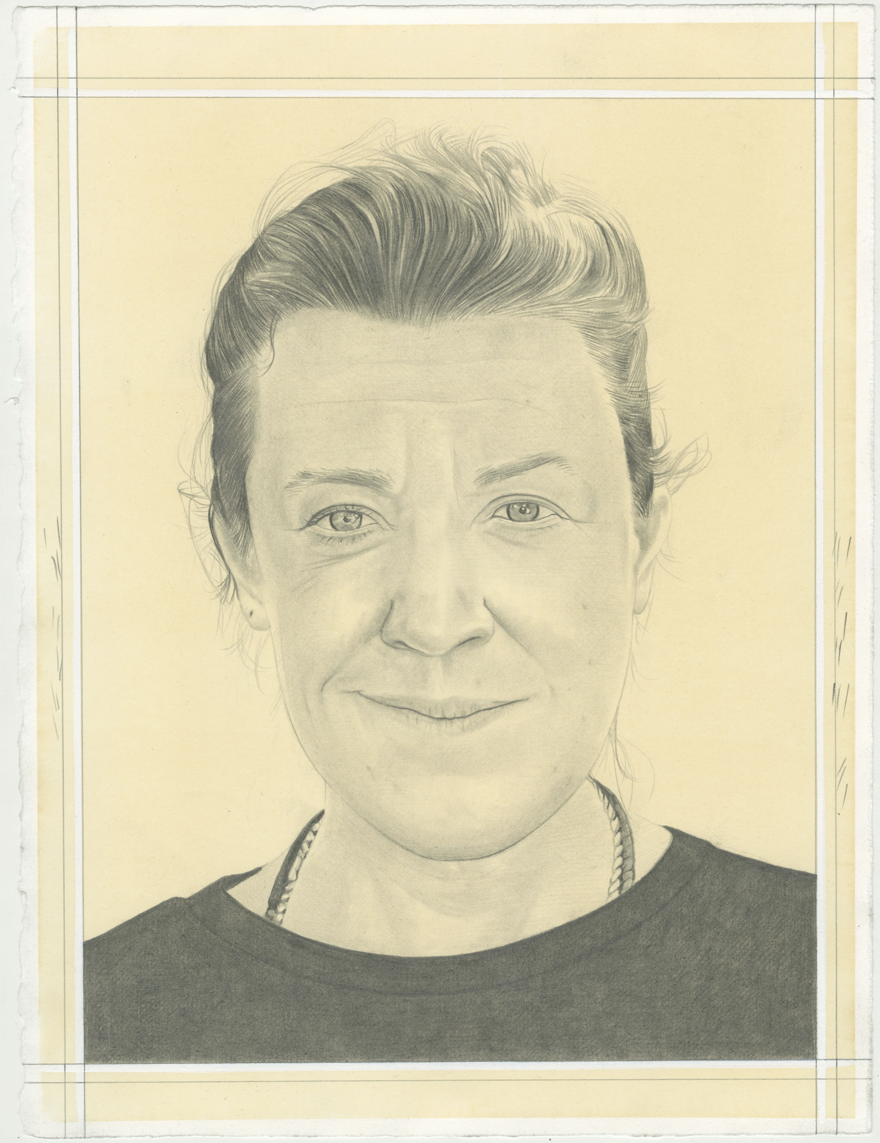 Portrait of EJ Hauser, pencil on paper by Phong H. Bui.