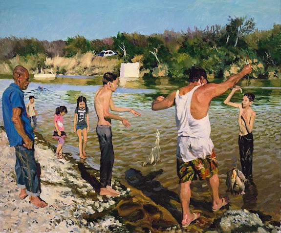 Liu Xiaodong, <em>Boundary River</em>, 2019. Oil on canvas, 98 1/2 x 118 1/8 inches. Courtesy the artist and Massimo De Carlo, Milan/London/Hong Kong.