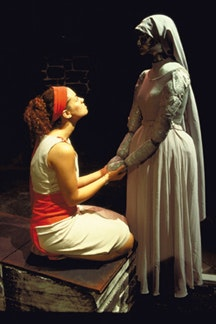 One Year Lease's <i>Antigone</i>, Tella Storey as Antigone with the nurse, who is a mannequin created by artist Cristina Capello.