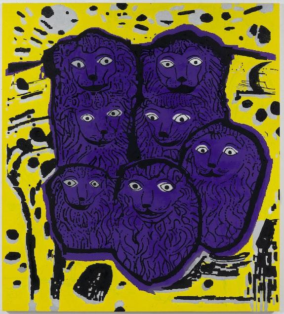 EJ Hauser, <em>Big Purple Voyagers</em>, 2020-21. Oil on canvas, 80 x 72 inches. Courtesy the artist and Derek Eller Gallery, New York.