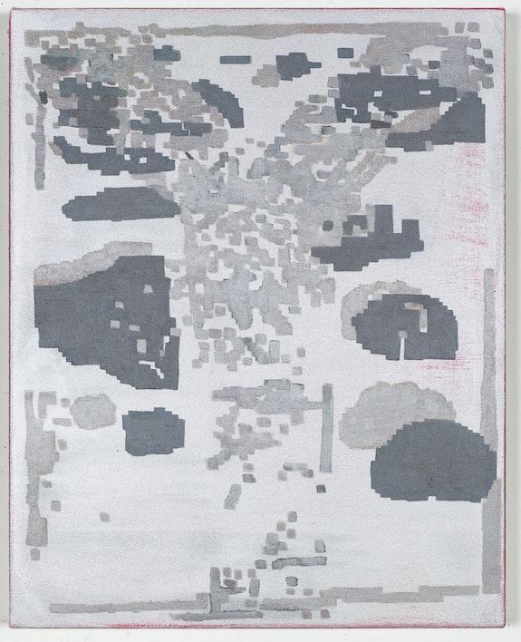 EJ Hauser, <em>Divining Log Landscape (silver)</em>, 2020-21. Oil on canvas, 20 x 16 inches. Courtesy the artist and Derek Eller Gallery, New York.