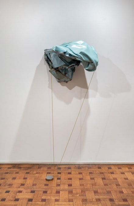 Kennedy Yanko, <em>Pleasure Page</em>, 2021. Paint skin, metal, painted wire, 73 x 31 x 29 inches. Courtesy the artist and Tilton Gallery, New York.