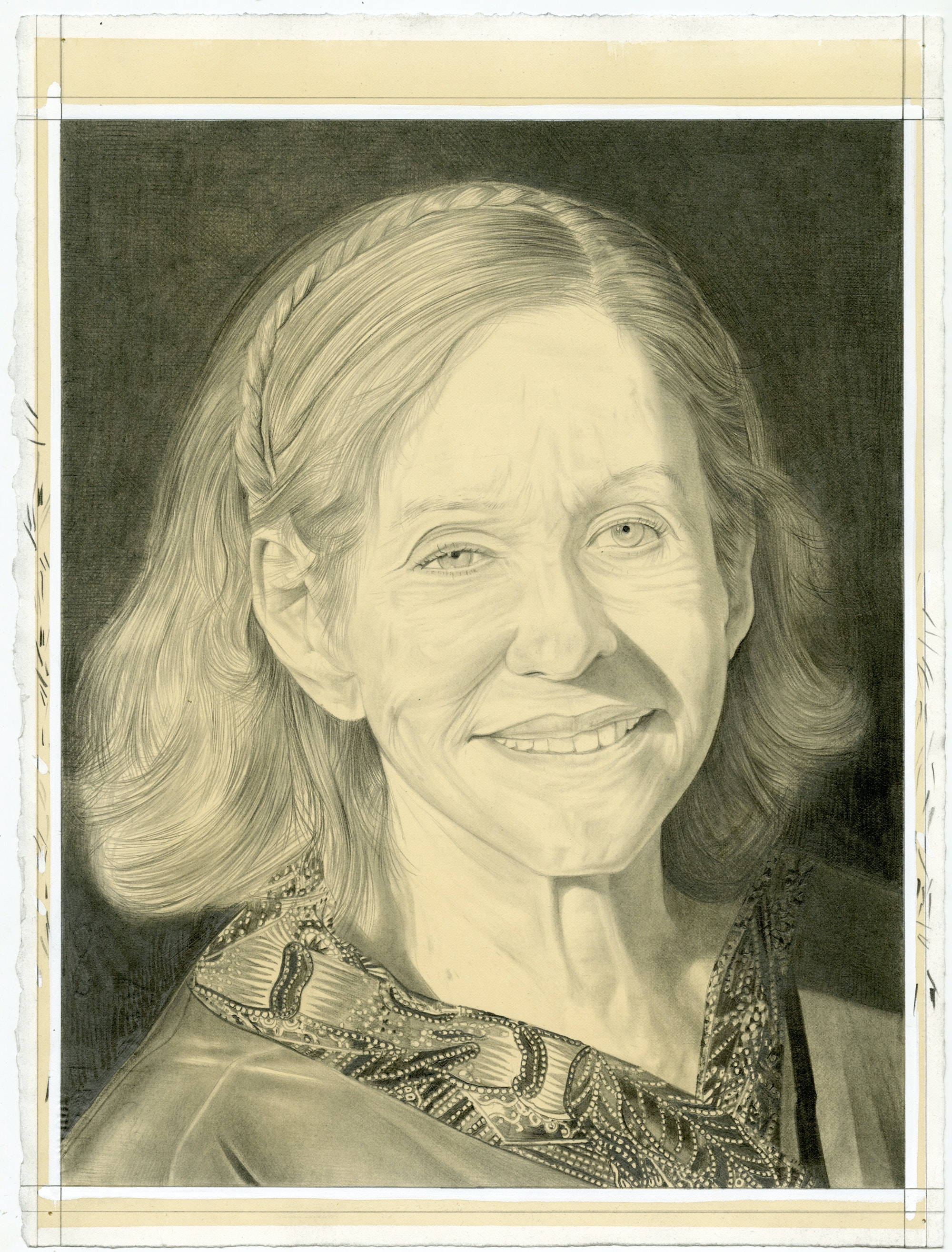 Portrait of Barbara Rose, pencil on paper by Phong H. Bui.