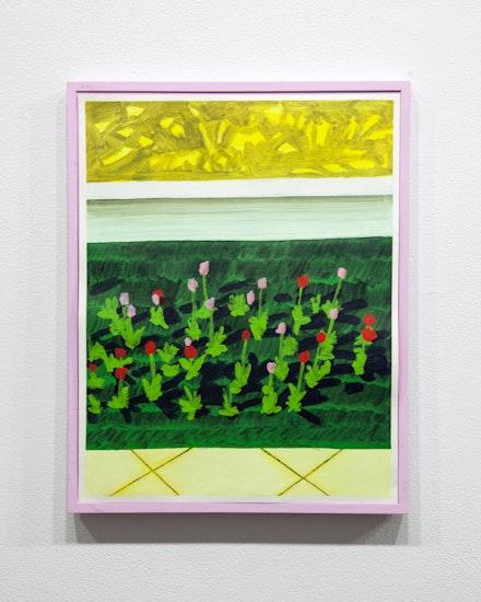 Masamitsu Shigeta, <em>Tulip Garden</em>, 2020. Acrylic on paper, wood frame, 17 x 13 inches. Courtesy SITUATIONS Gallery.