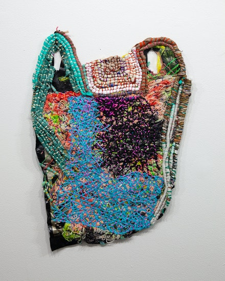J Stoner Blackwell, <em>Neveruses (Evergiven)</em>, 2018–21. Plastic, silk, wool, cotton, paper rope, 26.5 x 18 inches. Courtesy SITUATIONS Gallery.