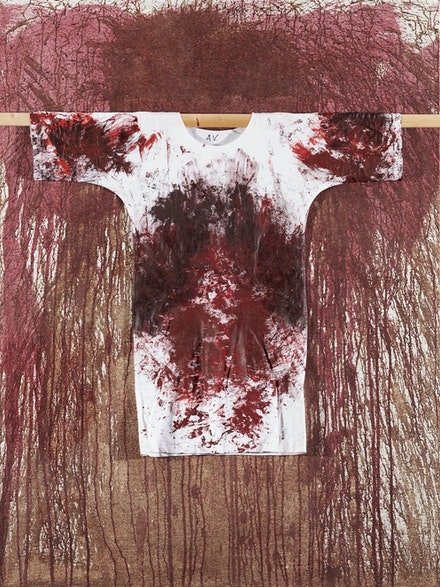 Hermann Nitsch, Untitled, 2011. Acrylic and blood on canvas, 79 by 59 inches. Courtesy the artist and Slag & RX Galleries.