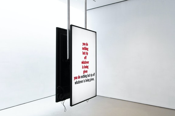 John Giorno (with Ugo Rondinone), <em>John Giorno performing I Don't Need it, I don't want it, and You Cheated Me Out of It, 1981 & Eating the Sky, 1978</em>, 2015. 2 videos with sound playback. Courtesy Sperone Westwater, New York.