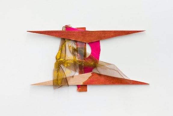 Daiga Grantina, <em>Temple #1</em>, 2020. Wood, fabric, ink, plastic, staples, 16 1/2 x 26 3/8 x 2 inches. © Daiga Grantina. Courtesy the artist and Emalin, London. Photo: Steve James.