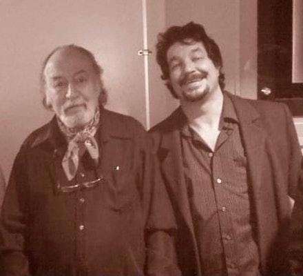 Aldo and Jim Dunn at the opening of <em>Aldo Tambellini: The Black Films</em>, Huret & Spector Gallery, Emerson College, 2011. Photo: Richard Csongor.