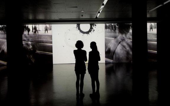 <em>Retracing Black</em> by Aldo Tambellini with Pia Bolognesi and Giulio Bursi, installed at ZKM, Karlsruhe, 2017. © ZKM