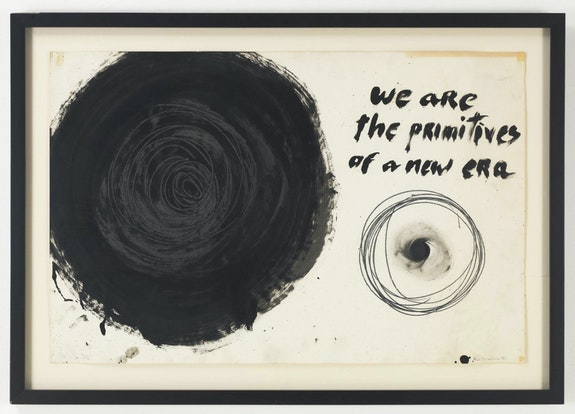 """Aldo Tambellini, <em>We Are the Primitives of a New Era</em> from the """"Manifesto"""" series, 1961. Duco, acrylic, and pencil on paper."""