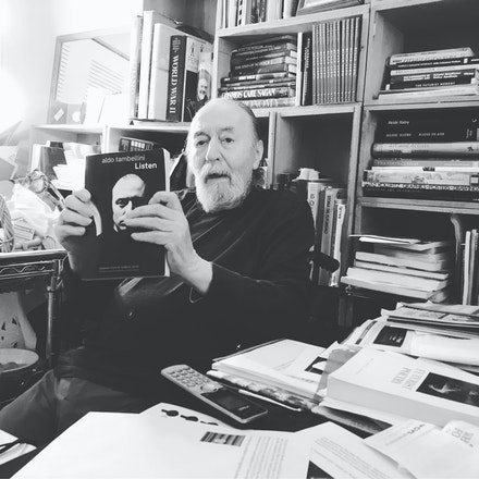 <em>Man in the 21st Century: Aldo Tambellini and the Sacred Marriage: </em>my last image of my friend taken in his Cambridge apartment on May 16, 2019.