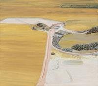 Carol Rhodes, <em>Surface Mine</em>, 2009–11. Oil on board, 19 3/4 x 22 3/8 inches. Courtesy Alison Jacques Gallery, London. © Carol Rhodes Estate.