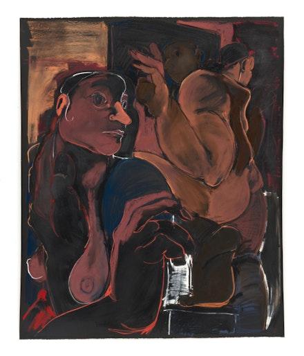 Cristina BanBan, <em>Escena en el baño</em>, 2020. Mixed media on paper. Courtesy the artist and 1969 Gallery.