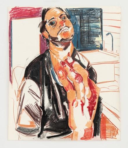 Cristina BanBan,<em> Xavi en el estudio</em>, 2021. Soft pastel and oil pastel on paper, 42 x 35 inches. Courtesy the artist and albertz benda.